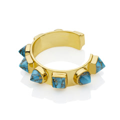 Nubian Cuff in Gold Plated Brass & Blue Copper Turquoise