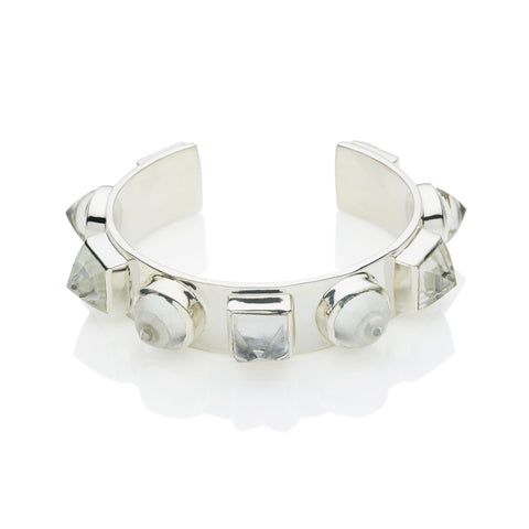 Nubian Cuff in Sterling Silver & Crystal
