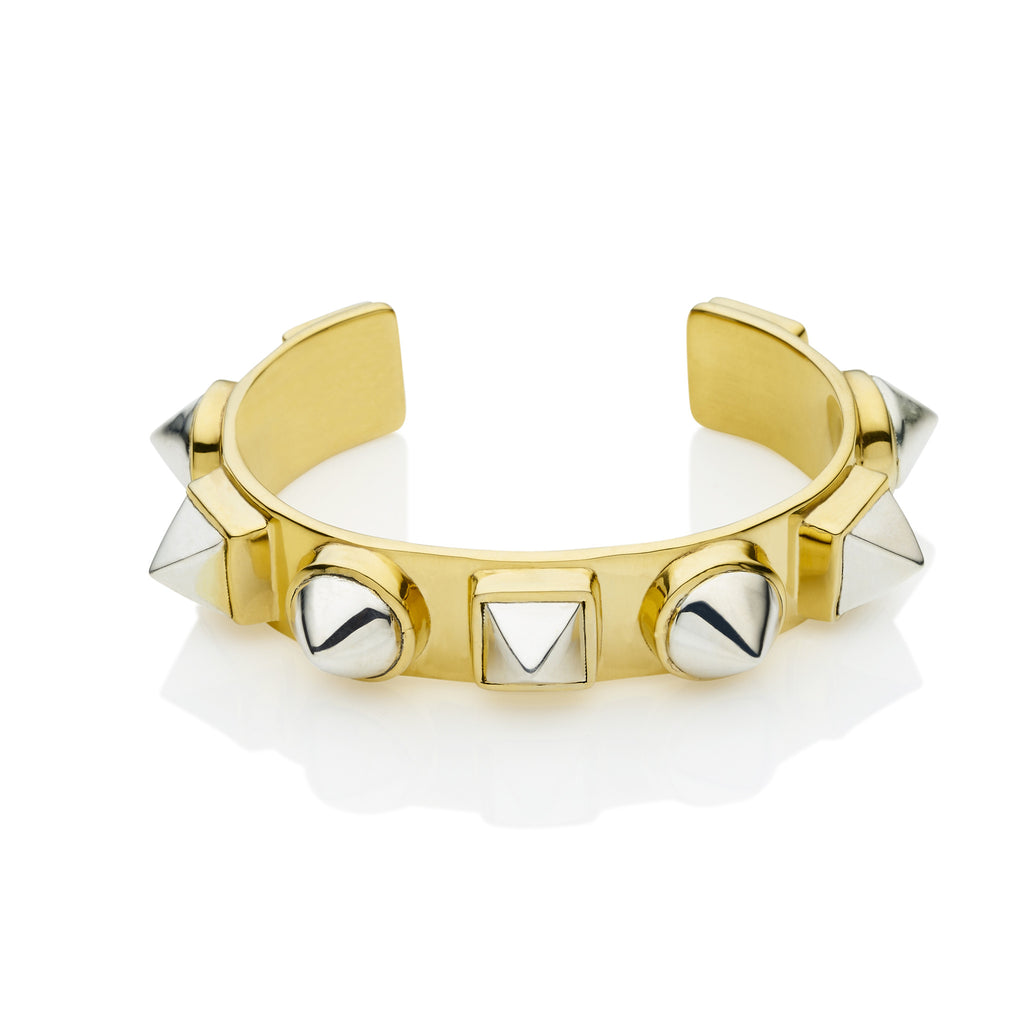 Nubian Cuff in Gold Plated Brass & Sterling Silver