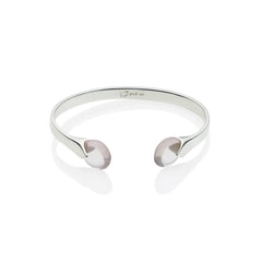Masai Cuff in Sterling Silver & Rose Quartz