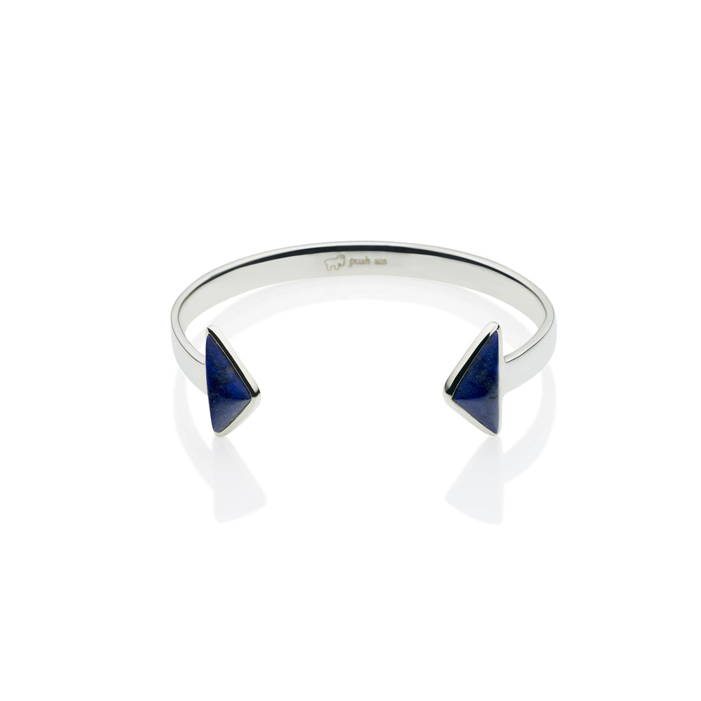 En Tribe Cuff in Sterling Silver & Lapis