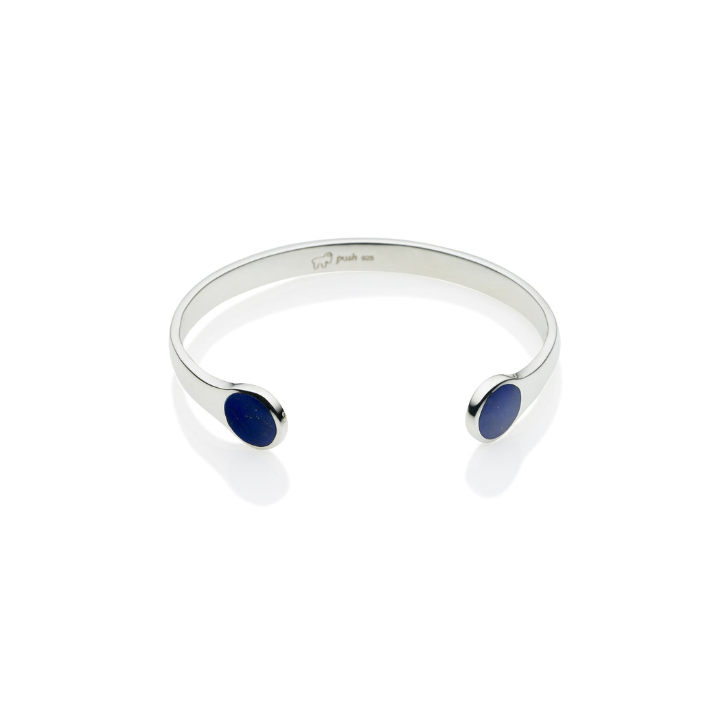 Full Moon Cuff in Sterling Silver & Lapis
