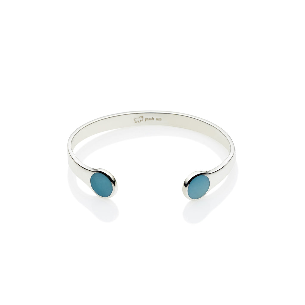 Full Moon Cuff in Sterling Silver & Turquoise