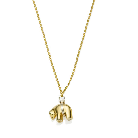 Lucy Bear Necklace in Gold Plated Brass