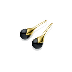 Masai Earrings in Gold Plated Brass & Black Onyx