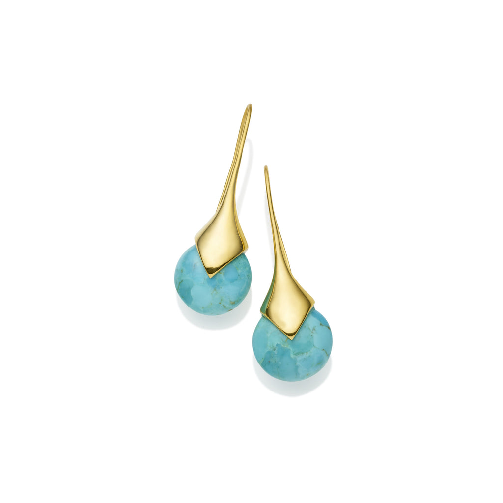 Masai Earrings in Gold Plated Brass & Turquoise