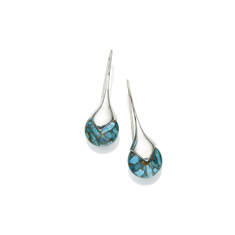 Masai Earrings in Sterling Silver & Blue Copper Turquoise