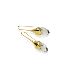 Water Masai Earrings in Gold Plated Brass & Faceted Crystal