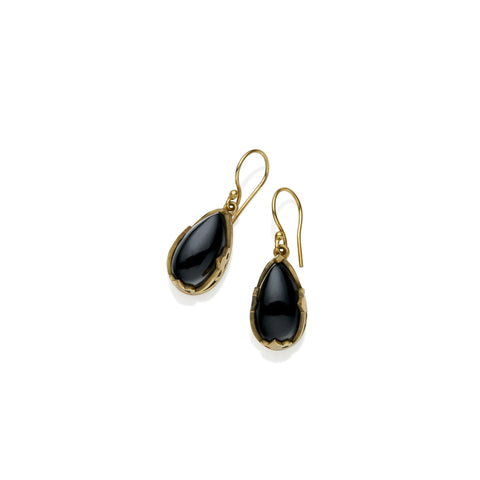 Monarch Earrings in Gold Plated Brass & Black Onyx