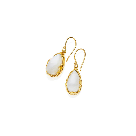 Monarch Earrings in Gold Plated Brass & Moonstone