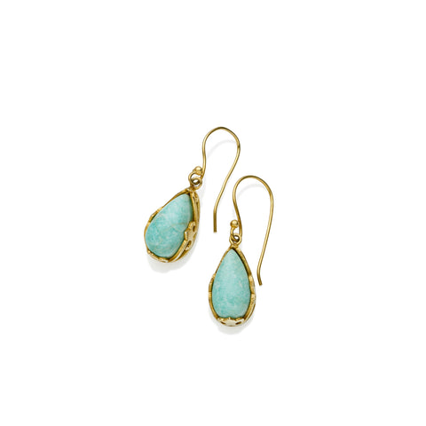 Monarch Earrings | Gold Plated Brass and Amazonite