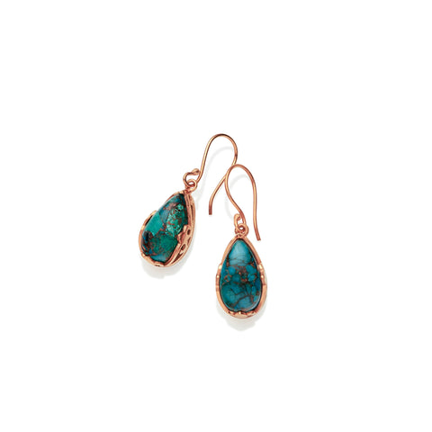Monarch Earrings | Rose Gold Plated Brass and Chrysocolla