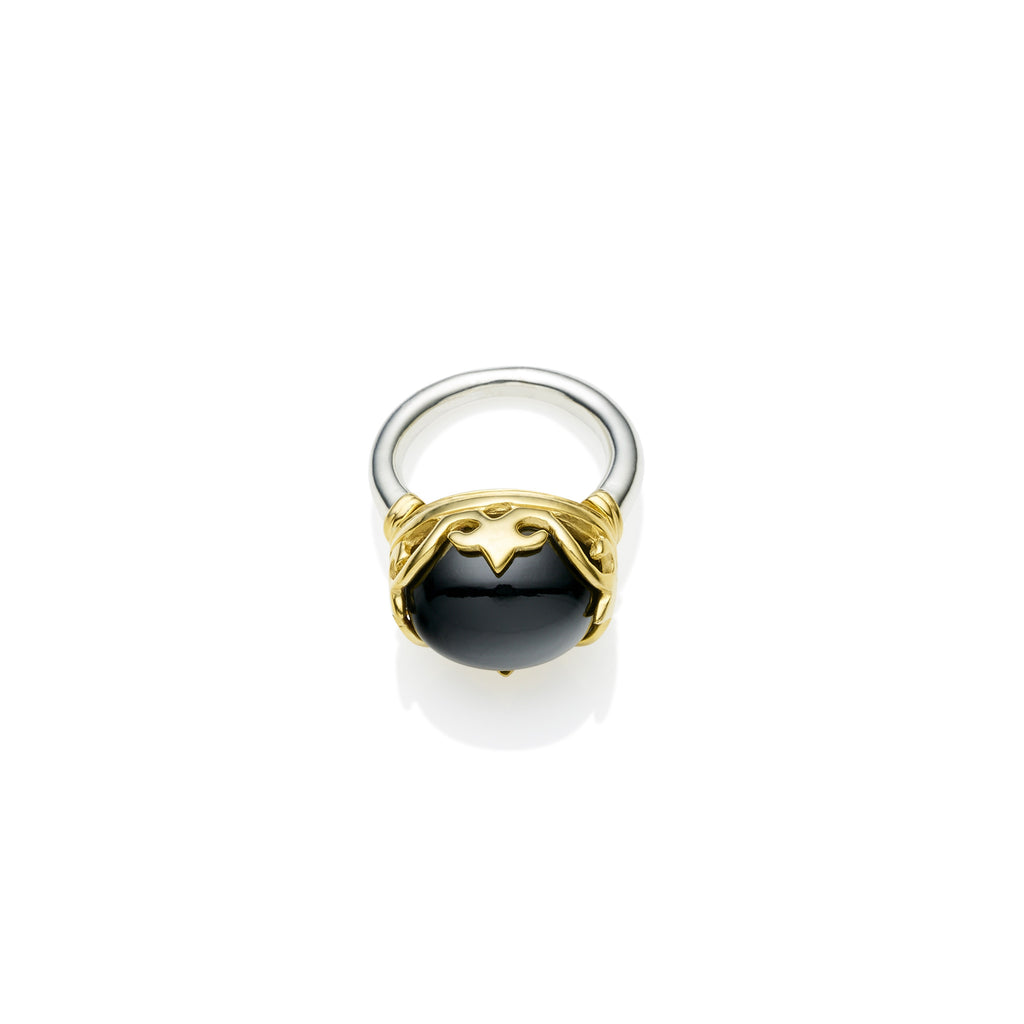Princess Monarch Ring in Gold Plated Sterling Silver & Black Onyx