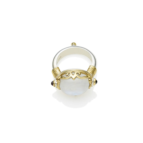 Empress Monarch Ring | Moonstone, Sterling Silver with Gold Plate