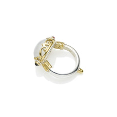 Empress Monarch Ring in Gold Plated Sterling Silver & Moonstone