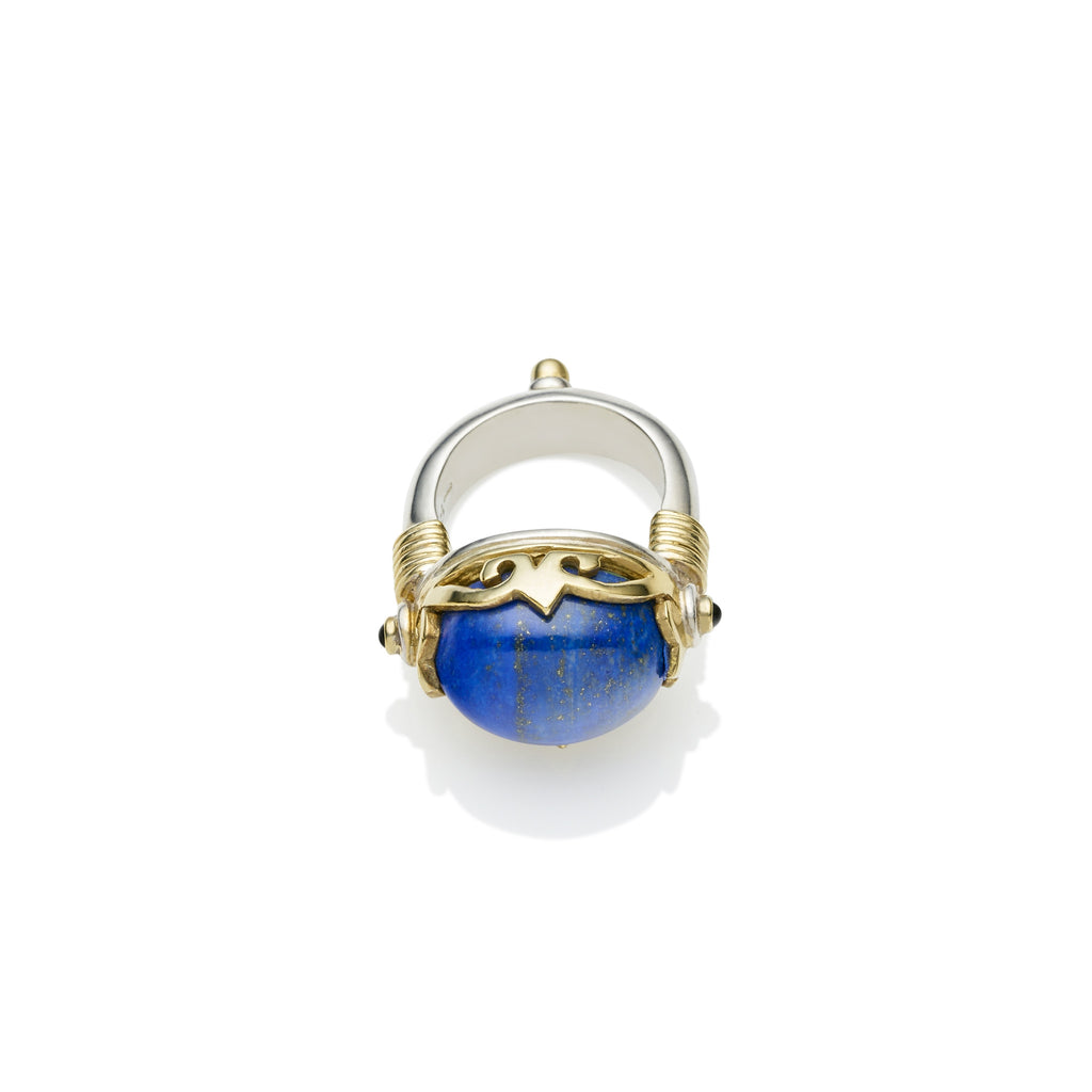 Empress Monarch Ring in Gold Plated Sterling Silver & Lapis