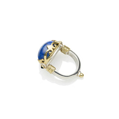 silver band with gold plated crown, lapis lazuli, black onyx ring, handmade designer jewellery