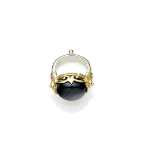 Empress Monarch Ring in Gold Plated Sterling Silver & Black Onyx
