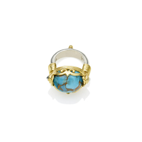 Empress Monarch Ring | Blue Copper Turquoise, Sterling Silver with Gold Plate