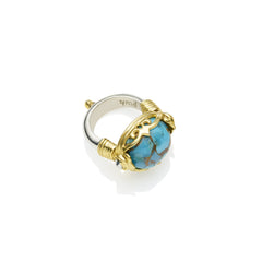 Empress Monarch Ring in Gold Plated Sterling Silver & Blue Copper Turquoise