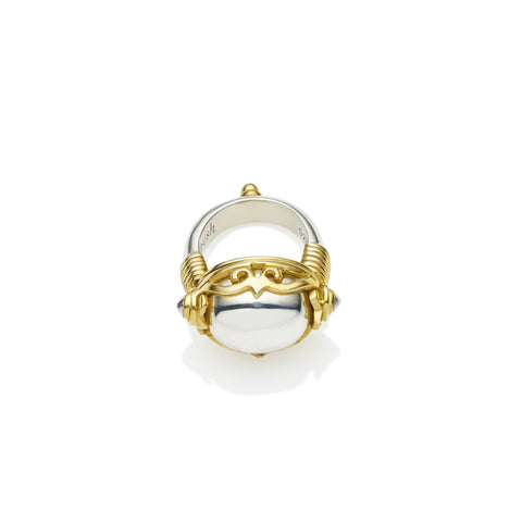 Empress Monarch Ring in Gold Plated Sterling Silver & Sterling Silver Cabochon