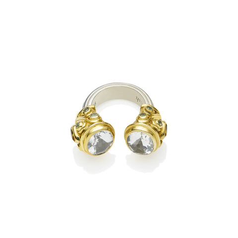 Shahaka Ring in Gold Plated Sterling Silver & Faceted Crystal