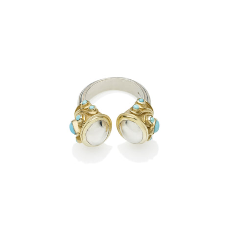 Shahaka Ring in Gold Plated Sterling Silver & Sterling Silver Cabochon
