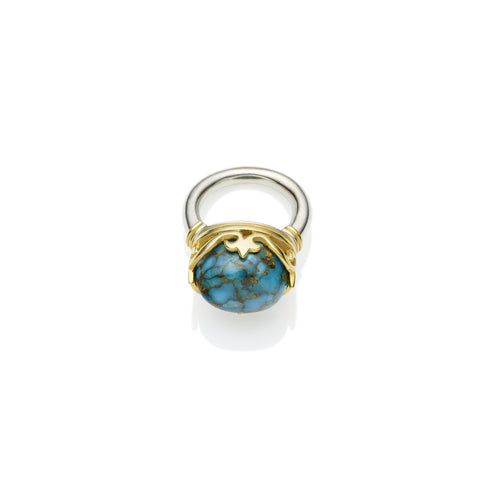 Princess Monarch Ring in Gold Plated Sterling Silver & Blue Copper Turquoise