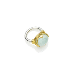 Princess Monarch Ring in Gold Plated Sterling Silver & Amazonite