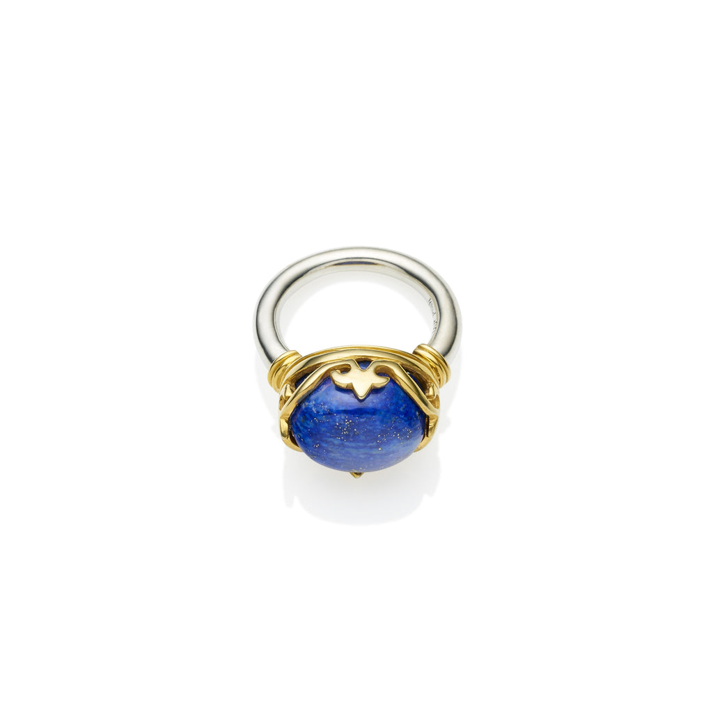Princess Monarch Ring in Gold Plated Sterling Silver & Lapis