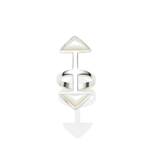 Axis Ring in Sterling Silver & Mother of Pearl