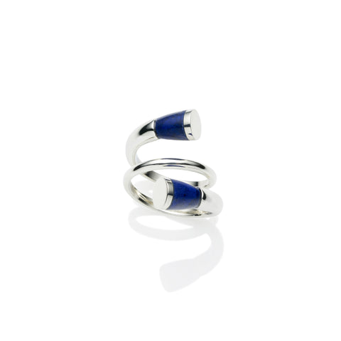 Sterling silver comet ring with Lapis stone, jewellery designer, handmade