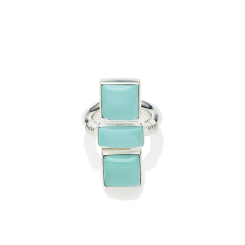 Three Sisters Ring in Sterling Silver & Turquoise