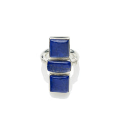 Three Sisters Ring in Sterling Silver & Lapis