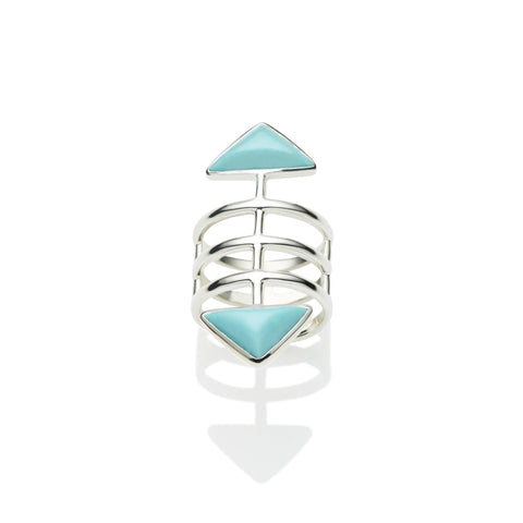 Turquoise ring, sterling silver, cage ring, jewellery designer