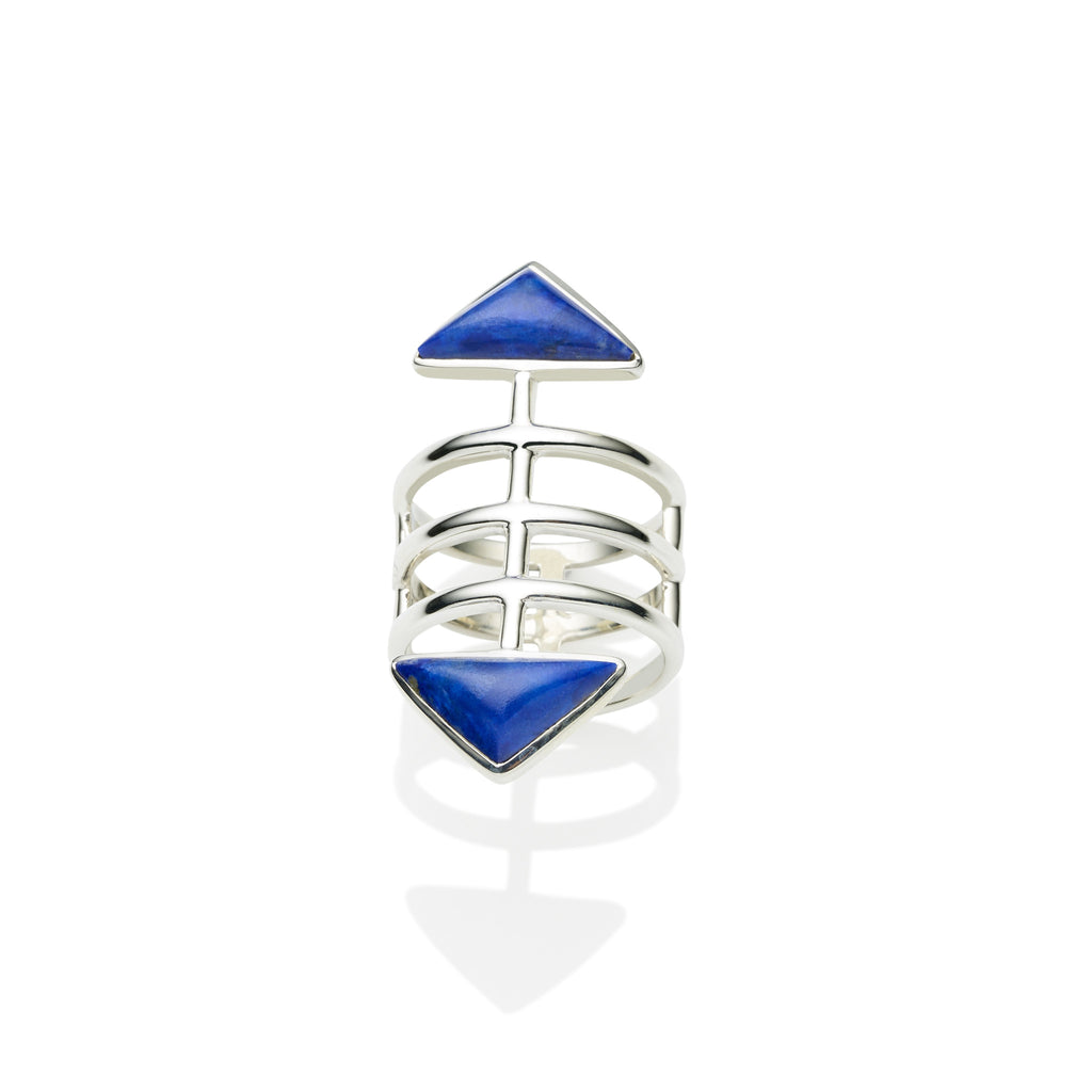 Sterling Silver & Lapis cage ring, jewellery designer, bohemian