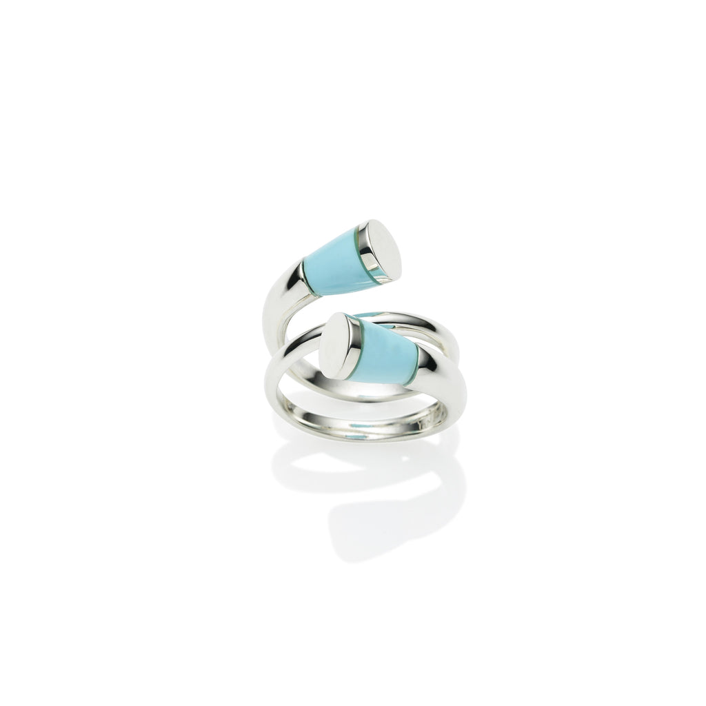 Comet Ring in Sterling Silver & Turquoise