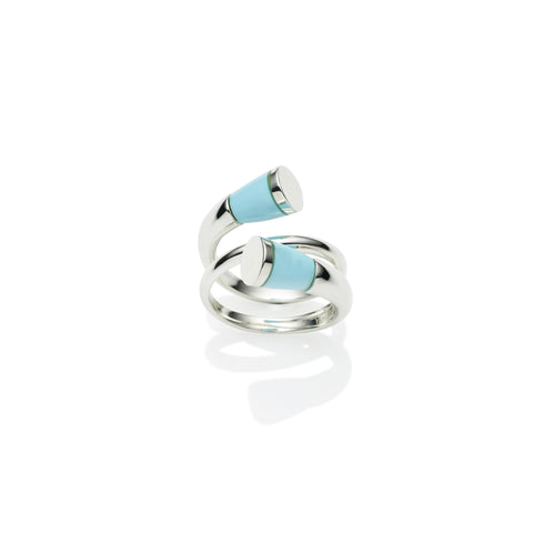 Sterling silver comet ring with turquoise stone, jewellery designer, handmade