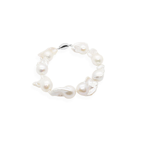 Baroque Pearl Bracelet | White Pearl and Sterling Silver