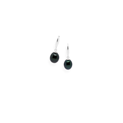 Smooth Earrings | Black Pearl and Sterling Silver