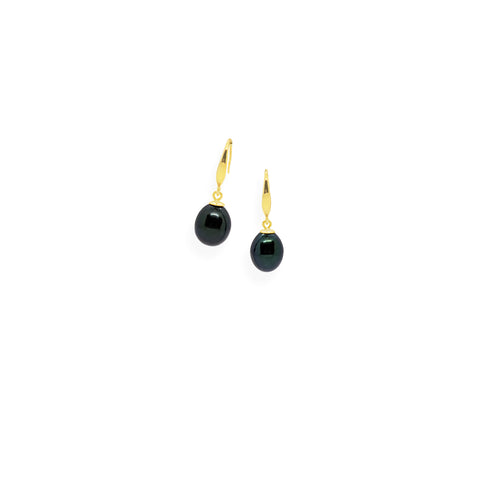 Smooth Earrings | Black Pearl, Sterling Silver and Gold Plate