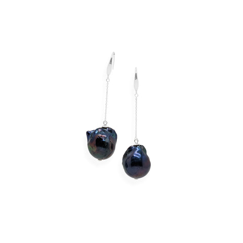 Baroque Drop Earrings | Black Pearl and Sterling Silver