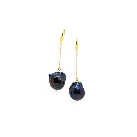 Baroque Drop Earrings | Black Pearl, Sterling Silver and Gold Plate