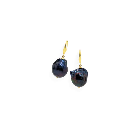 Baroque Earrings | Black Pearl, Sterling Silver and Gold Plate
