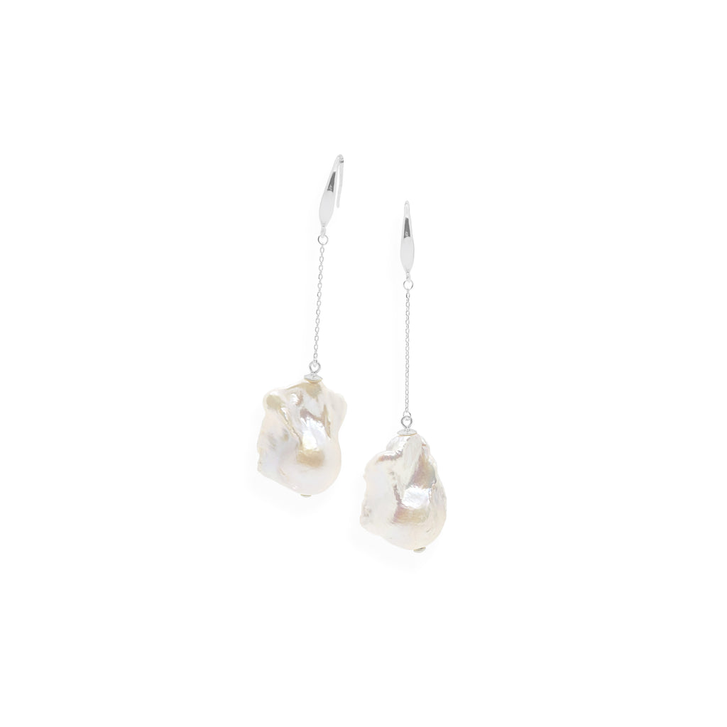 Baroque Drop Earrings | White Pearl and Sterling Silver