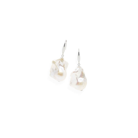 Baroque Earrings | White Pearl and Sterling Silver