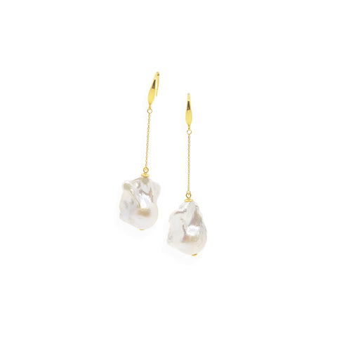 Baroque Drop Earrings | White Pearl, Sterling Silver and Gold Plate