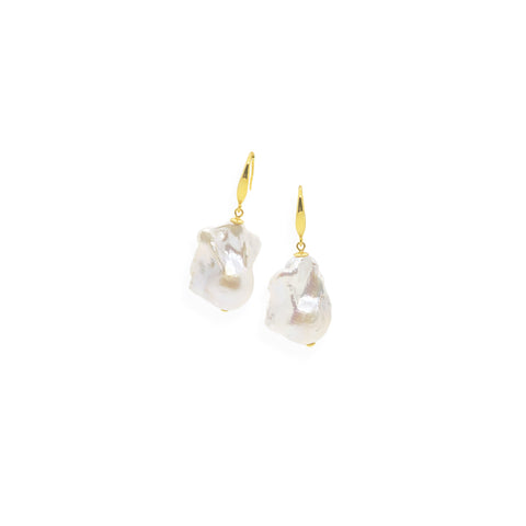 Baroque Earrings | White Pearl, Sterling Silver and Gold Plate