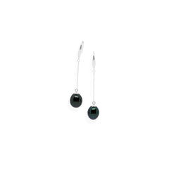 Smooth Drop Earrings | Black Pearl and Sterling Silver