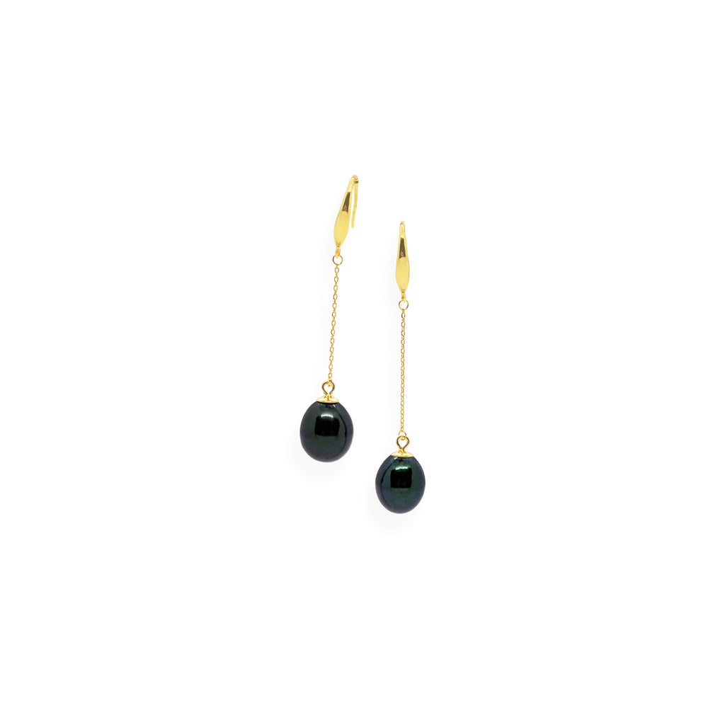 Smooth Drop Earrings | Black Pearl, Sterling Silver and Gold Plate